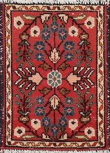Vintage Geometric Traditional Oriental Area Rug Hand-knotted Wool 1x2 Red Carpet