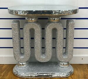 Diamond crush mirrored crush crystal ceramic Side and home console table silver