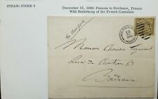 O) 1889 PANAMA, COLOMBIA OFFICE IN PANAMA, PANAMA TO BORDEAUX, FRANCE BACKSTAMP