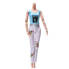 2 Pcs/Set Blue Vest Suit for Barbie Dolls White Pants Fashion Trendy Doll Set*~*
