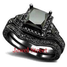 Black Diamond Bridal Set 925 Silver Wedding Ring Size 5