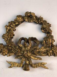 Antique French Ormolu Gilt Bronze Pediment Architectural Salvage