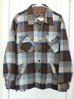 Vintage Outerwear Sears Wool Button Up Jacket Lined Brown Blue Plaid Sz L