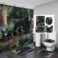 Forest Bear Family Shower Curtain Bath Mat Toilet Cover Rug Bathroom Decor