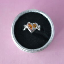 Beautiful 927 Silver Ring With Amber 3.7 Gr.  2 x 1.1 Cm. Wide Size R1/2 In Box