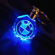 Car Logo Crystal Crafts With Colorful LED Light Laser Key Chain for BMW