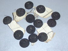 13 Antique Victorian Black Fabric Crochet Effect Tiny Bead Domed 17mm Buttons