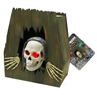 Large Animated Coffin Halloween Skeleton Decoration Escape Face Prop Light up