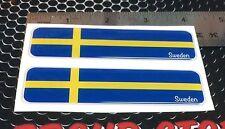 Sweden Sverige Flag Proud Domed Decal Car Emblem Flexible 3D 4x1 Set of 2Sticker