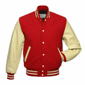 New Mens Classic Letterman Baseball Wool & Genuine Leather Varsity Bomber Jacket