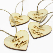 20PCS*Personalised Engraved Wooden Love Heart Wedding Tags Name Tag Decor Favors