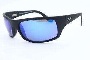 Maui Jim Peahi MJ 202-2M-SGH Wrap Black Sunglasses Polarized Blue  - See Detail