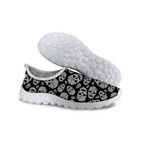 Cool Black Skull Running Trainers Men's Walking Shock Absorbing Sport SHOES