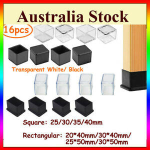 Square Rectangle Silicone Chair Leg Caps Table Cover Feet Pads Floor ProtectorAU