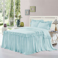 HIG 3 Piece ALINA Ruffle Skirt Bedspread Set 30 inches Drop Twin Queen King Size