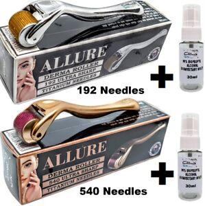 Skin Roller 540 / 192 Titanium Needles +30ml Alcohol Steriliser 0.25mm - 2.5mm
