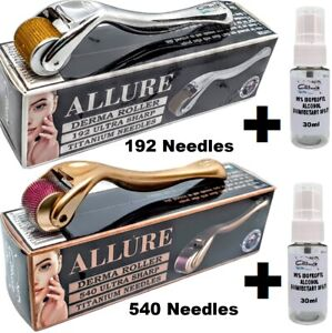 Derma Roller 540 / 192 Titanium Needles +30ml Alcohol Steriliser 0.25mm - 2.5mm