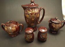 Moriage Tea/coffee pot Creamer Sugarbowl Salt and pepper shaker Set Hand Painted