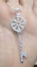 Sterling Silver Key Necklace with Wagon WheelTop