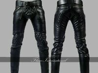 Men's Real Leather Pant Punk Kink Jeans Trousers BLUF Pants Bikers Breeches Cuir