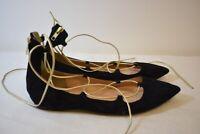 J. Crew Black Suede Pointed Toe Women's Ballet Flats Shoes Size 8.5M On Sale
