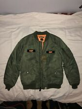 BAPE BOMBER JACKET GREEN/ORANGE SZ L PRE-OWNED
