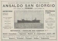 Z1971 Motonave ANSALDO San Giorgio - Pubblicità d'epoca - 1920 Old advertising
