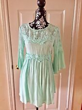 Dance & Marvel Sea Green Floral Lace Mini Dress Open Back 3/4 Sleeve Medium