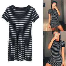Short Sleeve Women Striped Party Neck Bodycon Summer Beach Mini T-Shirt Dress