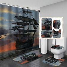 Sea Pirate Ship Shower Curtain Bath Mat Toilet Cover Rug Bathroom Decor