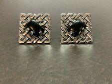 Vintage,Sterling Silver/Cufflinks/Square Shape/Weave Design/Black Tiger's Eye