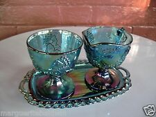 Indiana Glass Blue Carnival Harvest Grape Footed Creamer & Sugar Bowl & Tray