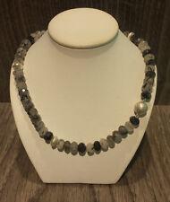 Rutilquarzkette mit  925/- Silber, Collier, Kette mit Rutilquarz, Halskette