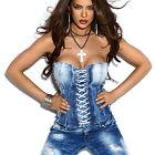 By Alina Jeans top Corsetto Lacci Parte superiore da donna Blu XS