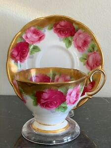 Vintage Royal Albert Gold Edge English Rose Cup and Saucer