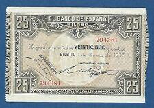 BILBAO -- 25 PESETAS ( 1937 ) -- BANCO HISPANO AMERICANO -- EBC // VF+ -- S563d