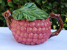 Teapot Ceramic Grapes/Leaf Lid/Mauve Color