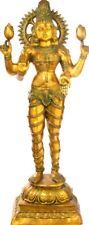 "Master Large Lakshmi Standing Hindu Jai God Statue 51"" Golden Brass Figure 48 KG"