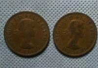 (2) 1964 GREAT BRITAIN ELIZABETH II HALF PENNY COINS!    DD397XXX