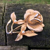 Vintage Retro Hollywood Brooch Pin Gold Tone Rose & Pearl Kitsch 1960's Signed