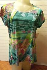 Southern Lady Wrinkle Free Teal Print Top Short Sleeve Womens S NEW NWT