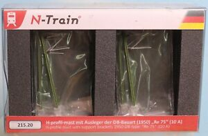 N-Train 215.20, Spur N, DB Oberleitung,10 x H-Profilmast Bauart 1950 Re 75