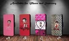 Betty Boop Pink Heart Collage Pattern Faux Leather Flip Phone Case Cover Y294