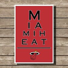Miami Heat Poster NBA Basketball Eyechart Art Print 12x16""