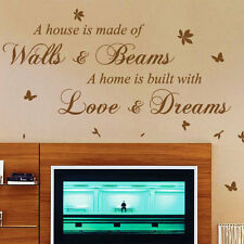 A House Is Made Of  Bricks and Beams Wall Art Quote Stickers, Wall Decals bn