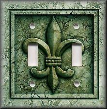 Metal Light Switch Plate Cover - French Fleur De Lis Decor Aged Stone Dark Green