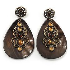 Vintage Lágrima Shell pendientes de perla de resina de color ámbar (tono de bronce)