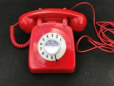 GPO 706 BRIGHT RED ROTARY PULSE DIAL VINTAGE 1960s TELEPHONE (22/25)