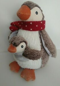 PLUSH Mummy & baby PENGUIN fabric CHRISTMAS DECORATION parent & child BNWT