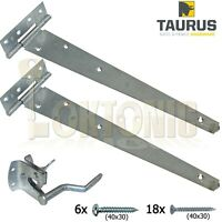 "Galvanised Pedestrian Gate  Kit 14"" Hinges And Auto Gate Latch Includes Fixings"
